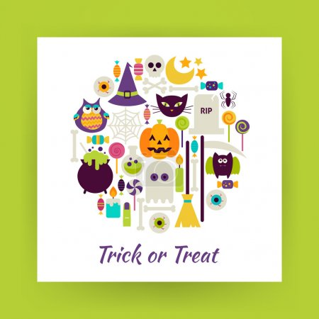 Flat Style Circle Vector Set of Halloween Trick or Treat Objects