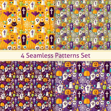 Four Vector Flat Seamless Trick or Treat Halloween Party Pattern