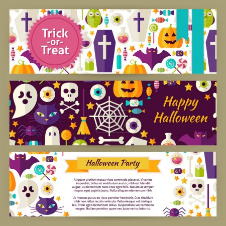 Trick or Treat Halloween Vector Template Banners Set in Modern F