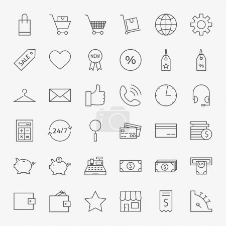 Illustration pour Ligne Boutique en ligne et icônes de commerce Big Set. Ensemble vectoriel de 36 icônes modernes de ligne mince de commerce électronique et de marketing pour le Web et le mobile - image libre de droit