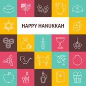 Line Art Happy Hanukkah Jewish Holiday Icons Set