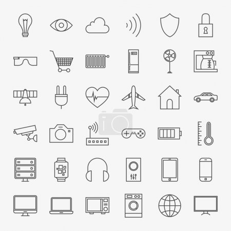 Line Internet of Things Design Icons Big Set