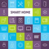 Vector Line Art Smart Home Icons Set