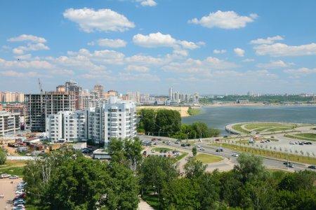 City on river coast. Kazan, Russia