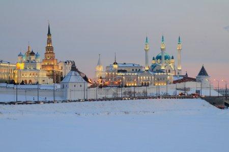 Kazan Kremlin in winter evening