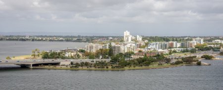 South Perth suburb view from Kings Park and Botanical gardens in Perth