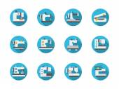 Blue round flat sewing machines vector icons
