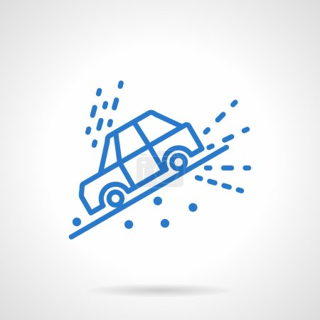 Illustration for Road disasters and automobile insurance cases. Car slope down on hill or roadside. Informative and warning signs. Simple blue line vector icon. Single element for web design, mobile app. - Royalty Free Image