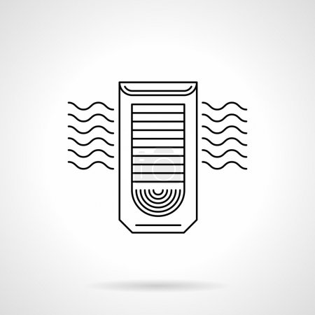 Column air conditioning flat line vector icon