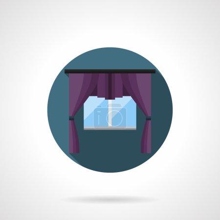 Purple window treatment round flat vector icon
