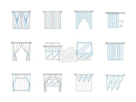Window textile decor flat line vector icons set