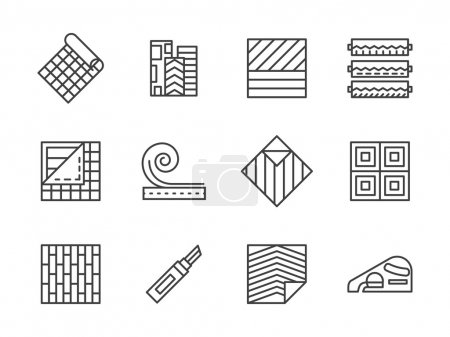 Linoleum flooring black line vector icons set