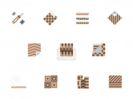 Linoleum brown flat style vector icons set