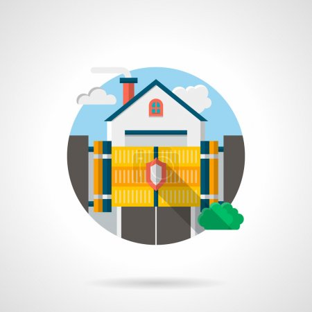 Private residence secure color detail vector icon