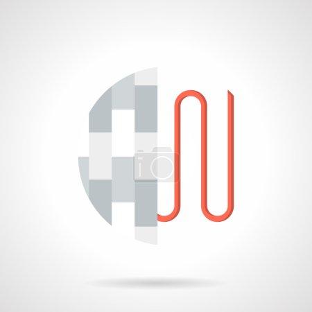 Flat style heating under floor vector icon