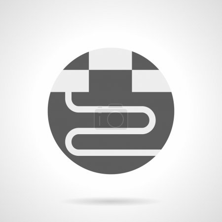 Gray round flat vector icon for warm floor