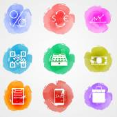 Vector creative colored icons for web finance market