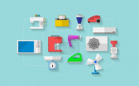 Illustration pour Ensemble d'icônes vectorielles plates colorées avec appareils ménagers sur fond bleu . - image libre de droit
