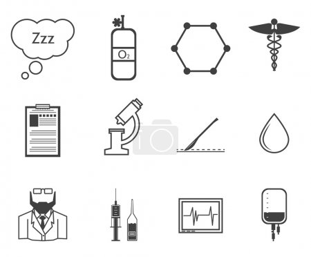 Black vector icons for anesthesiology