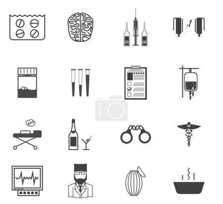 Set of black vector icons with symbols of elements...