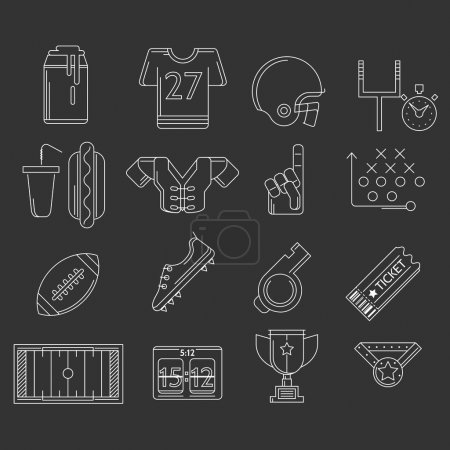 American football outline vector icons