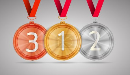 Illustration for Set of shiny gold first place, silver second place and bronze third place circle medals with white number 1, 2 and 3 hanging on red ribbons. Isolated vector illustration on gray background. - Royalty Free Image