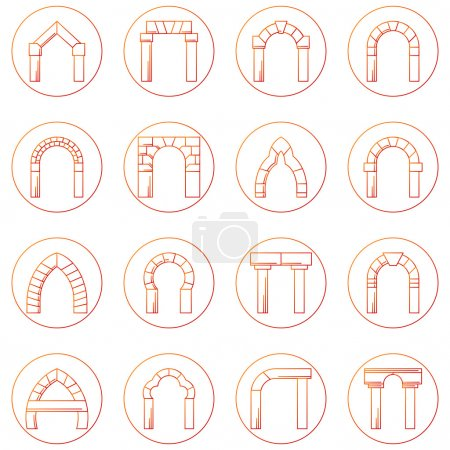 Sketch icons vector collection of different types arch