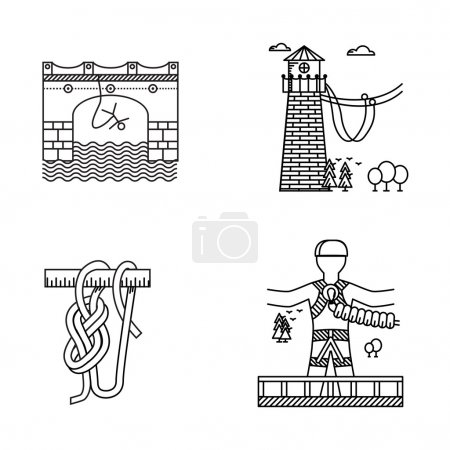 Illustration for Set of black contour vector icons for same extreme sport as rope or bungee jumping on white background. - Royalty Free Image
