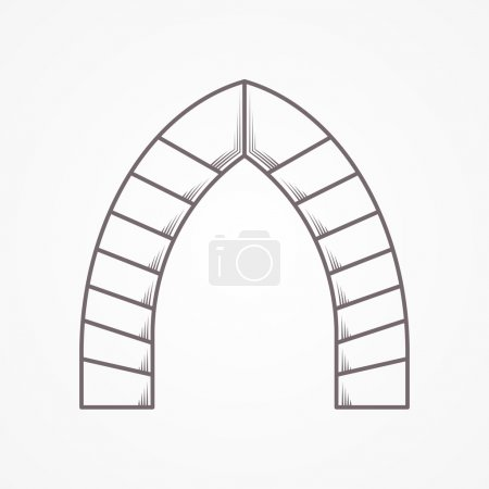 Flat line vector icon for lancet arch