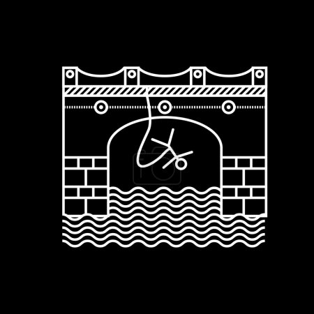 Illustration for Flat white contour vector icon for rope jumping from arch bridge on black background. Design element for your website or business. - Royalty Free Image