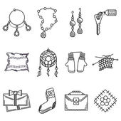 Black line icons vector collection for handmade items
