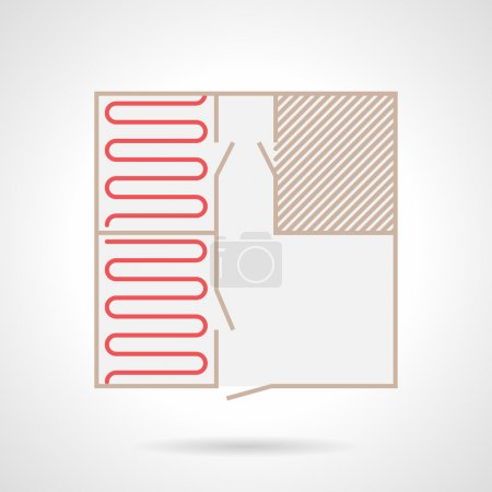 Flat color vector icon for project for heated floo...