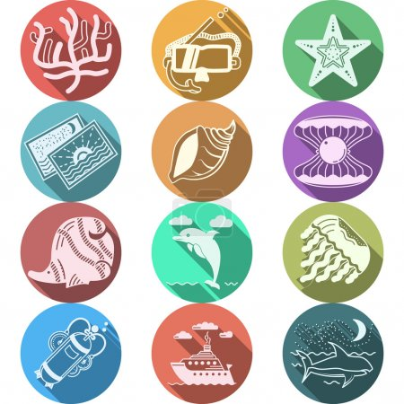 Underwater flat color vector icons