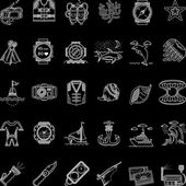 Scuba diving white line icons vector collection