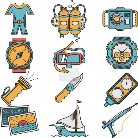 Illustration for Flat color design icons vector collection for scuba diving equipment and objects on white background - Royalty Free Image