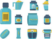 Flat blue icons vector collection of sport supplements set for sportsmen healthy nutrition and good growth