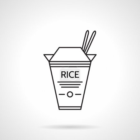 Illustration for Flat black line vector icon for box with rice and two chopstick on white background - Royalty Free Image