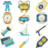 Set of flat color style vector icons for diving sport equipment and accessory on white background