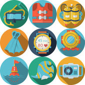 Set of flat color design round vector icons with colored elements and objects for sea leisure with long shadow on white background
