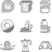 Breakfast black line icons vector collection
