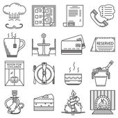 Restaurant black line icons vector collection