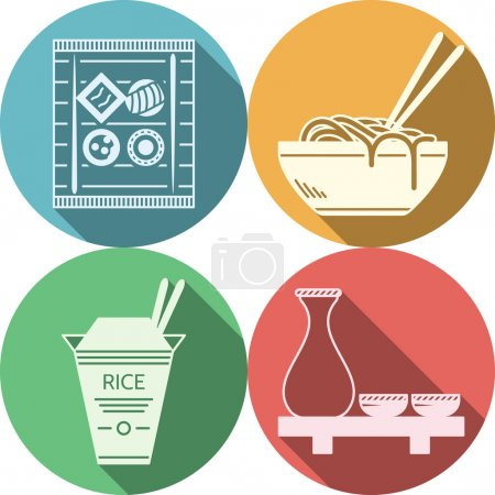 Flat vector icons for japanese food