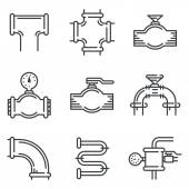Pipeline black line vector icons