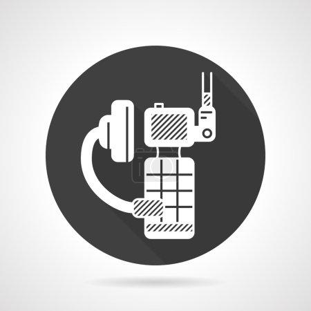 Portable radio kit black round vector icon