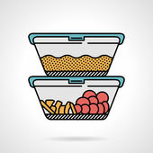 Lunch box flat color vector icon
