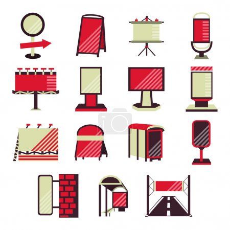 Red flat vector icons for outdoor advertising