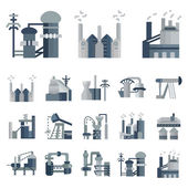 Plants and factories flat vector icons