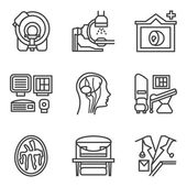 MRI black simple line vector icons set