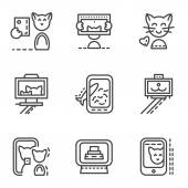 Simple line vector icons for selfie