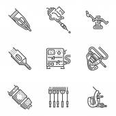 Black line vector icons for tattoo equipment